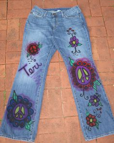 Painted & embroidered very worn in jeans