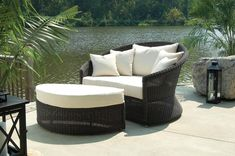 Outdoor Haven Lounge Chair and Ottoman. The Outdoor Haven Lounge and Ottoman are constructed of all-weather wicker incorporating a unique dual-tone weave that beautifully resembles natural woven aba. Wicker Lounge Chair, Chair And Ottoman Set, Commercial Patio Furniture, Outdoor Furniture Sets, Pool Furniture, Wicker Furniture, Adirondack Furniture, Cottage Furniture, Outdoor Lounge