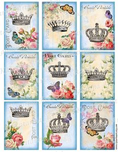 Royal Crown butterfly rose Vintage Shabby chic by KatarinaArt Decoupage Vintage, Vintage Cards, Vintage Images, Tattoo Mere Fille, Etiquette Vintage, Cute Tattoos, Tatoos, Crown Tattoos, Sister Tattoos