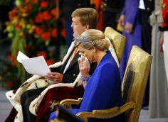 The new King with an emotional new Queen Maxima during the investiture ceremony 4/30/13