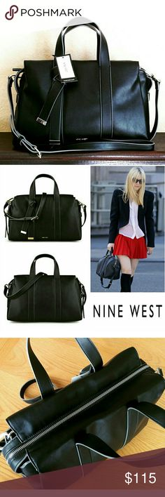 69✂NWT Nine West Black Leather Satchel Bag ⏩Made of impeccable craftsmanship, this bag features high-quality soft faux leather & flirty bow design at front ⏩Top zipped closure, 3 inside pockets (1 zip,2 slip) ⏩Top carrying handle with detachable, adjustable strap ⏩Highly versatile! Can be carried by the handle & worn as crossbody ⏩The perfect balance of structured & supple. It keeps it shape, but is also pliable. So gorgeous!  Sz(apx) 13 x 8 4 handle 17-20 strap Nine West Bags Satchels