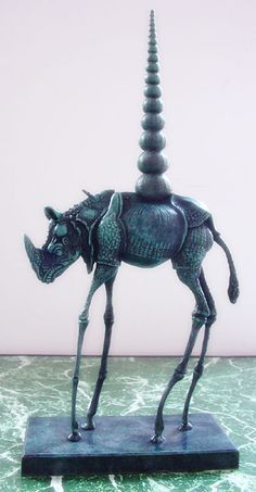 "#SALVADOREDALI Pinterest - @houstonsoho |  ""Cosmic Rhinoceros"" bronze (1956) by Salvadore Dalí"