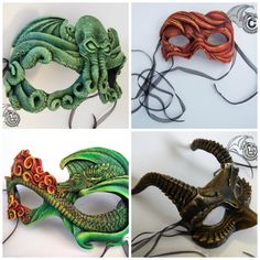 These Magical Masks Feature Cthulhu And Dragons Monster Party, Dragon Mask, Dragon Jewelry, Carnival Masks, Venetian Masks, Masks Art, Leather Projects, Masquerade Ball, Diy Mask