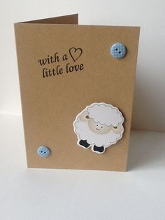 New Baby Card  With a Little Love  Lamb by AuntyJoanCrafts on Etsy, £1.95