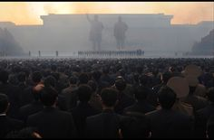 North Koreans watch fireworks during an unveiling ceremony of two statues of former leaders Kim Jong-Il and Kim Il-Sung in Pyongyang on April 13, 2012. North Korea's new leader Kim Jong-Un on April 13 led a mass rally for his late father and grandfather following the country's failed rocket launch.