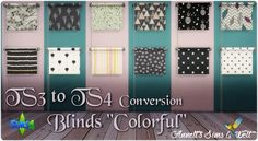 """Sims 4 CC's - The Best: TS3 to TS4 Conversion - Blinds """"Colorful"""" by Annet..."""