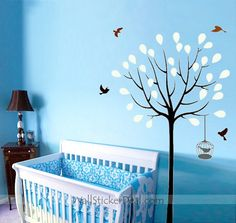 Spring Tree with Birds and Birdcage Wall Stickers