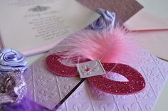 Glitter Mask Pink and Lilac Masquerade by InvitatiiCouture on Etsy, $4.30