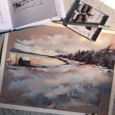 The same landscape, but different format and in #softpastels . Тот же пейзаж, но в другом формате и в пастели. #сухаяпастель . #canotstoppainting #canotstoppainting_pastels #softpastel #softpastelpainting #pastelpainting #pasteldrawing #pastelart #pastelartist #landscapepainting #wintermood #arts_help #art_fido #artdaily #artofinsta #art_gallery #art_empire #art_we_inspire #art_worldly #dailypainting #paintingart #nawden #artjournal #etsyartist