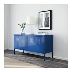 IKEA - IKEA PS, Schrank, blau, , Öffnung auf der Unterseite zum geordneten Durchziehen aller Kabel.Abschließbare Türen, um Wichtiges sicher aufzubewahren.Hohe Beine erleichtern den Hausputz.