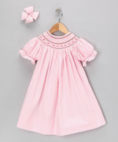 Take a look at this Molly Pop Inc. Light Pink Geometric Bishop Dress & Bow Clip - Infant on zulily today!