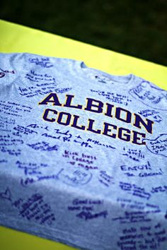 Have guests sign t-shirt for college as a guest book
