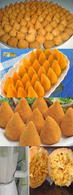 Coxinha de Liquidificador #CoxinhadeLiquidificador #Coxinha #Receitatodahora Chef Recipes, Snack Recipes, Cooking Recipes, Comida Baby Shower, New Years Eve Menu, Milanesa, Best Food Ever, Portuguese Recipes, Snacks