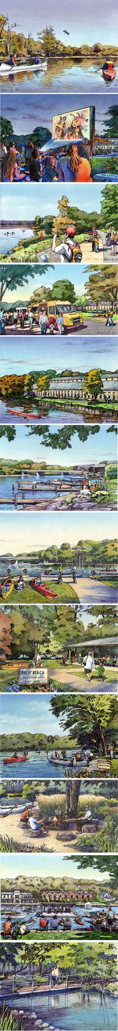 Fox River recreational corridor.  12 Charrette drawings in 5 days for CMAP.  Small format sketches in color by Bondy Studio.