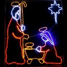 Christmas LED Nativity with Star Ropelight | Silhouette Rope Lights | Great Gifts at Deals Direct