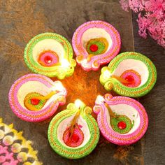 Sombre Set Of 6 Painted Clay Diyas Diwali Diya, Diwali Craft, Diwali Gifts, Diya Decoration Ideas, Diy Diwali Decorations, Online Gifts, Crochet Earrings, Canvas Art, Clay
