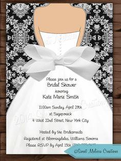 Damask & Bow Bridal Shower Invitation - Wedding Invitation - Black - White - DIY -Print at home - Sweet Melissa Creations