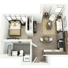 Denah Rumah Sederhana 1 Kamar Tidur Minimalis 3D
