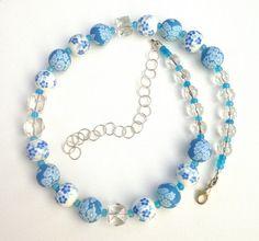 Sky Blue Flowers Necklace Floral Beaded Necklace by ZandrasJewelry