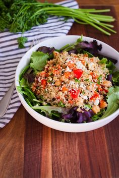 Quinoa Chickpea Salad recipe. Another simple recipe.  Protein: chickpea, feta cheese, quinoa