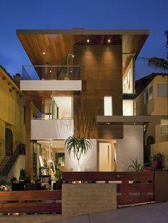 stunning modern home facade designs ideas:modern-exterior wooden facade brown color in luxury home