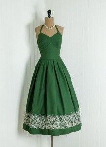 Forest Green Vintage Dress