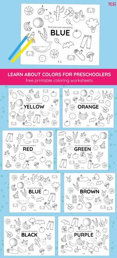 Printable Coloring Pages of Colors - YES! we made this - Printable Learning Activities for Toddlers and Kids - Awesome colors learning activities for kids. Get our free color hunt printable coloring pages and t - Color Blue Activities, Color Activities For Toddlers, Color Worksheets For Preschool, Preschool Colors, Teaching Colors, Preschool Learning Activities, Preschool Printables, Free Printable Worksheets, Free Preschool