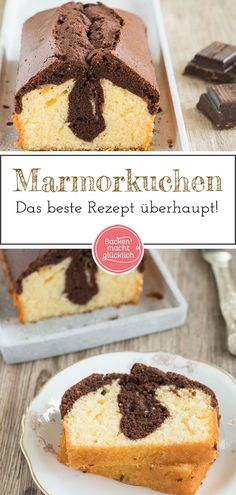 Marmorkuchen Grundrezept Marble cake: Simple basic recipe for the popular classic. This marble cake with cocoa is really nice juicy and easy. The classic marble cake tastes pure, with powdered sugar or chocolate pouring. # Back makes you happy cake Easy Cake Recipes, Baking Recipes, Dessert Recipes, Healthy Recipes, Baking Hacks, Baking Desserts, Baking Tools, Cinnamon Desserts, Baking Power