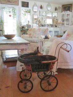 Vintage childs buggy  wicker metal wheels by Vintagewhitecottage