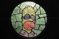 The Simpsons in stained glass