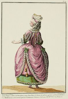 Hair à la Dauphine: two curls on the side, two curls en crochet,* holding a dolphin's tail; this hairstyle is surmounted with a pinched ribbon placed en barriere, holding a diamond rose and crossed by a row of pearls. The chignon is in a knight's cross, from which escapes a curl à la Sultaine which descends to the throat, where it ends.