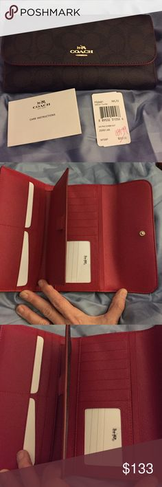 """Coach F52681 Signature PVC Checkbook Wallet NWT Signature PVC Checkbook Trifold Collection NWT.  Style: F52681  Brown / True Red Inside 12 card slot One clear window ID slot Removable checkbook cover with pen loop Gold tone hardware Snap clip closure, PVC / fabric lining Zip compartment at back for coins 💕 Matching Purse Sold Separately 💕Please ask all questions prior to buying.  Size:  8"""" (L) x 4"""" (H) approximately. 🚫Trades 🚫Low Ball Offers! Coach Bags Wallets"""