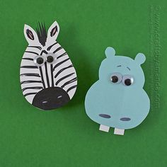 Make these two adorable magnets from card stock and clothespins. A cute zebra and his pal the hippo are fun for holding things on the fridge!