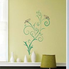 Fancy Scrolled Floral with Birds - Vinyl Wall Art Decals Graphics Stickers. $24.50, via Etsy.