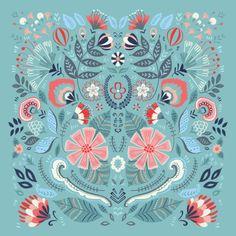 Buy Duvet Cover with Folk Floral Blue designed by Pimlada Phuapradit. Indian Folk Art, Mexican Folk Art, Batik Pattern, Pattern Art, Folk Art Flowers, Flower Art, Floral Illustrations, Illustration Art, Scandinavian Pattern
