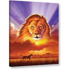 Jerry Lofaro The Lion King Gallery-Wrapped Canvas, Size: 18 x 24, Purple