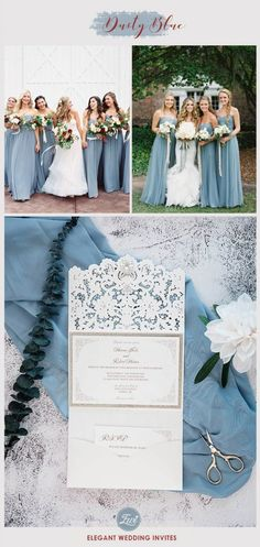 trendy dusty blue fall wedding colors for your bridesmaid dresses with matching wedding invites