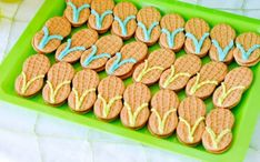 Surfs up!  Okay, now this is clever!  Nutter butter cookies with some decorative icing and Voila', flip flops!!  Easy!