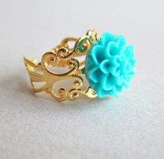 Aqua Floral Ring by Jewelsalem on Etsy, $5.00
