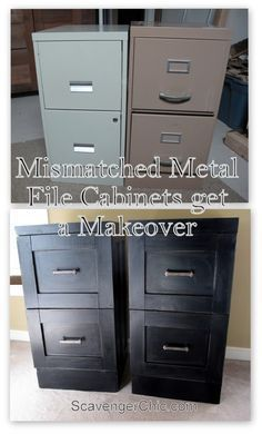 Filing cabinets are useful - but they're very ugly in a home setting. So I love this project - perhaps in a slightly more feminine color? Mismatched Metal File Cabinets get a Makeover - Scavenger Chic Furniture Projects, Furniture Makeover, Home Projects, Diy Furniture, Wicker Furniture, Furniture Refinishing, Metal Desk Makeover, Modern Furniture, Metal Projects