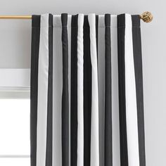 Pottery Barn Teen The Emily & Meritt Circus Stripe Blackout Drape, Black/Ivory Teen Curtains, Panel Curtains, Window Coverings, Window Treatments, Pottery Barn Kids Backpack, Emily And Meritt, Striped Shower Curtains, Patterned Curtains, Striped Bedding