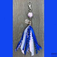 Sieraden, SP004 Lila blauwe sleutelhanger lintjes