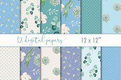 "Digital paper set ""Emerald & blue"" by MyLittleMeow on @creativemarket"