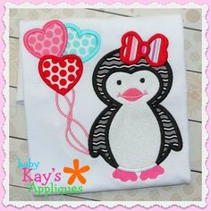 Baby Kay's Appliques - Penguin with Balloons 4x4, 5x7 6x10, 8x8, $2.40 (http://www.babykaysappliques.com/penguin-with-balloons-4x4-5x7-6x10-8x8/)