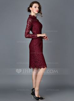Lace With Lace Knee Length Dress (199077225)