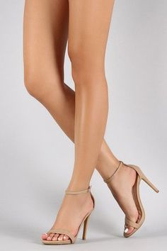 This lovely open toe heel features a single strap across vamp, top stitching accents, low platform, and wrapped stiletto heel. Finished with lightly cushioned insole and adjustable ankle strap with buckle Low Heel Sandals, Ankle Strap Heels, Ankle Straps, Nude Sandals, Stilettos, Stiletto Heels, Prom Heels, Sexy Heels, Platform High Heels