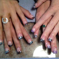 Funky gel nails ~ Love these! Gel Shellac Nails, French Manicure Nails, Gel Acrylic Nails, Gel Nail Art, French Nails, Nail Polish, Crazy Nails, Funky Nails, Love Nails