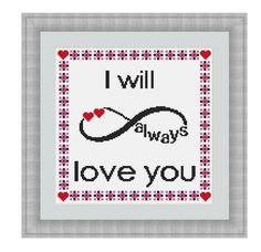 Cross stitch pattern I Will Always Love You,Instant download PDF, Valentines Day Cross Stitch Pattern