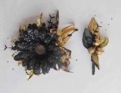 Black Gerbera Daisy Wrist Corsage & Boutonniere by justanns