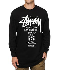 a91f046a3993d Get a classic Stussy style in a long sleeve design with white Stussy script  and world